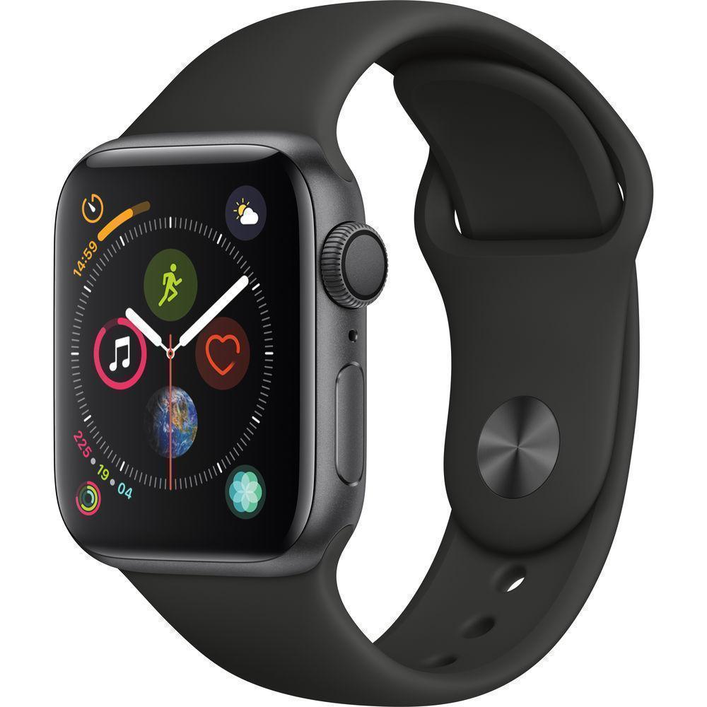 Apple Watch (Series 4) 44mm - Space Gray Aluminium Case - Black Sport