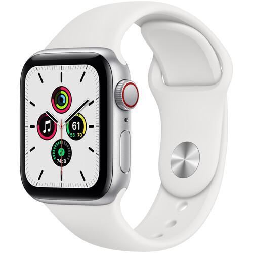 Apple Watch (Series SE) September 2020 44 mm - Aluminum Silver - Sport band White