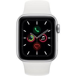 Apple Watch (Series 5) 44mm GPS Silver Aluminum Case - White Sport Band
