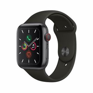 Apple Watch Series 5 GPS + Cellular (AT&T) 44mm Aluminum Case - Black Sport Band - Space Gray