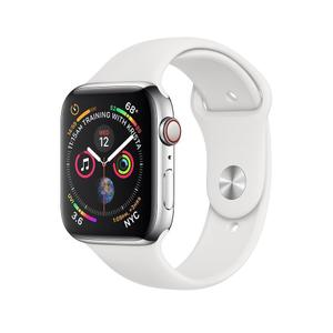 Apple Watch (Series 4) 44mm (GPS + Cellular) - Silver Stainless Steel - White Band