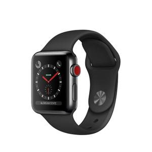 Apple Watch Series 3 (38mm) (GPS + Cellular) - Space Black Stainless Steel - Black Sport Band