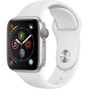 Apple Watch (Series 4) 40 mm (GPS + Cellular) - Aluminum Silver - White Sport Band