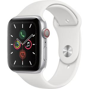 Apple Watch - Series 5 - 40mm - Cellular - Stainless Steel/White Sport Band