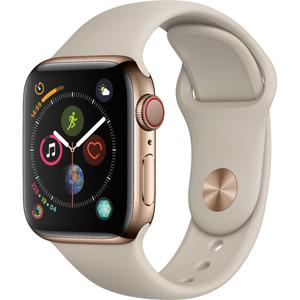 Apple Watch - Series 4 - 40mm - Cellular - Gold Stainless Steel - Stone Sport Band