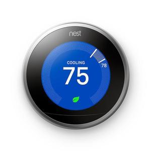 Nest 2nd Generation T200577 Learning Thermostat with Alexa - Black/Silver