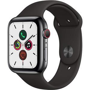 Apple Watch Series 5 44mm - Stainless Steel - Space Black - Black Sport Band