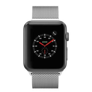 Apple Watch (Series 2) 42mm GPS - Stainless Steel Black - Silver Milanese Loop Band