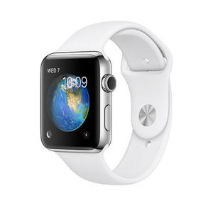 Apple Watch (1.Gen) 42MM - Silver Stainless Steel Case with White Sport Band