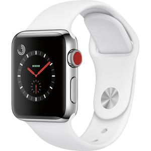 Apple Watch (Series 3) September 22, 2017 38 mm - Stainless steel Stainless Steel - Sport Band White