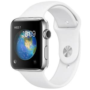 Apple Watch Series 2 38mm Stainless Steel Case - White Sport Band