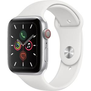 Apple Watch (Series 5) 44mm Silver Aluminum Case - White Sport Band
