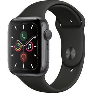 Apple Watch (Series 5) 44mm Space Gray Aluminum Case - Black Sport Band