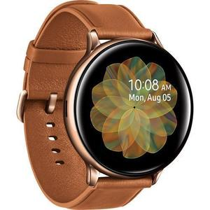 Watch Heart Rate Monitor GPS  Galaxy Watch Active2 Sm-r835u 40 mm - Stainless Steel Gold + Leather Brown Strap