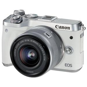 Hybdrid - Canon EOS M6 - White/Silver + Lens Canon EF-M 15-45mm f/3.5-6.3 IS STM - Black