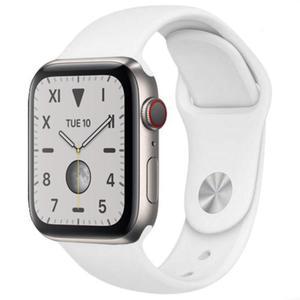 Apple Watch (Series 5) September 2019 44 mm - Titanium Silver - Sport Band White