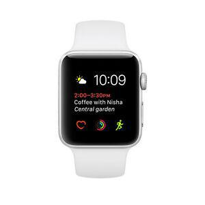 Apple Watch (Series 1) September 2016 38 mm - Aluminium Stainless Steel - Sport Band White