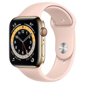 Apple Watch (Series 5) 44mm Gold Stainless Steel Case - Pink Sand Sport Band